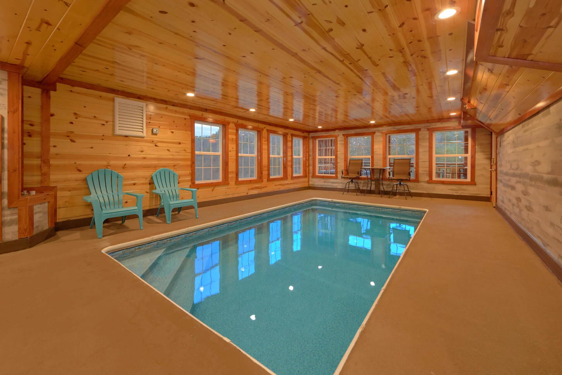 Marvelous Indoor Pool Cabin With Theater Room Interior Design Ideas Gentotthenellocom