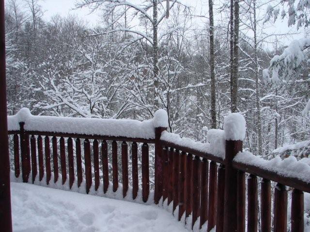 Snow Covered Deck - Gatlinburg Cabin in Gatlinburg TN