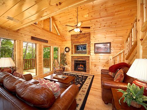 Luxury Furniture in a Gatlinburg Cabin Living Room