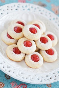 Homemade almond cookies filled with jam