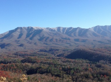 First Snow of 2013 on Mt. LeConte (view from Gatlinburg)
