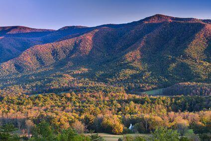 Autumn sunset view of Cade's Cove in Great Smoky Mountains National Park