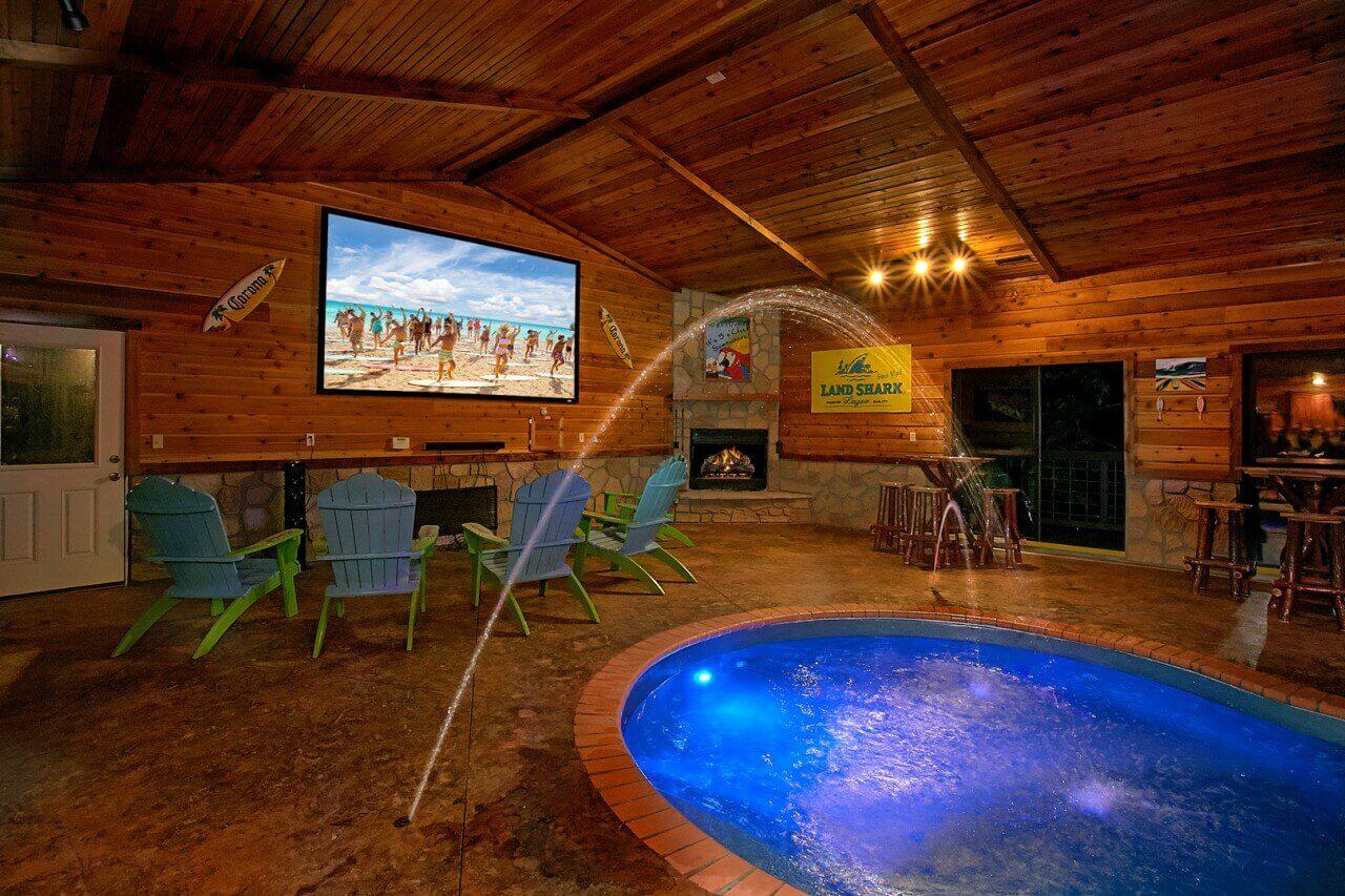 Mountain view mansion cabin in gatlinburg elk springs resort - Log cabins with indoor swimming pools ...