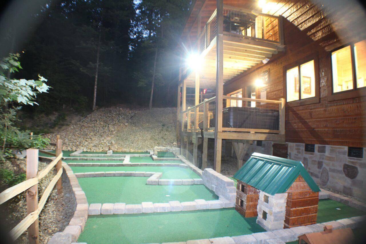 Brand new cabin with indoor pool putt putt golf firepit for Poolin around cabin gatlinburg tn